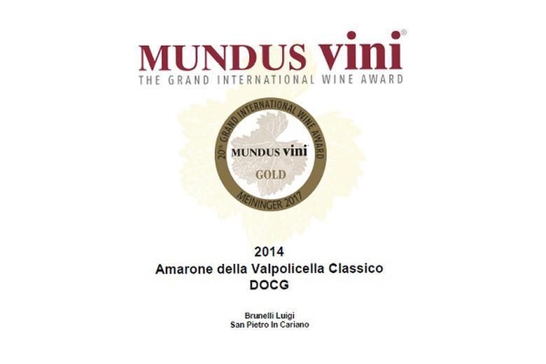 AMARONE CLASSICO 2014: MEDAGLIA D'ORO MUNDUS VINI!