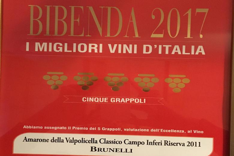 CINQUE GRAPPOLI 2017 AWARDED TO OUR AMARONE RISERVA CAMPO INFERI 2011.