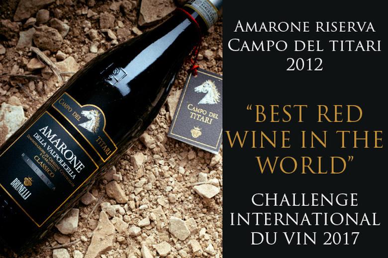"""AMARONE CAMPO DEL TITARI 2012: """"MIGLIOR VINO ROSSO AL MONDO"""" AL CHALLENGE DU VIN 2017"""